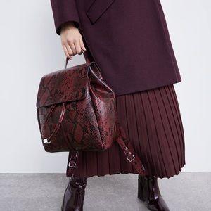 Zara Everyday Backpack Burgundy and Black Snakeskin Print Backpack Vegan Leather